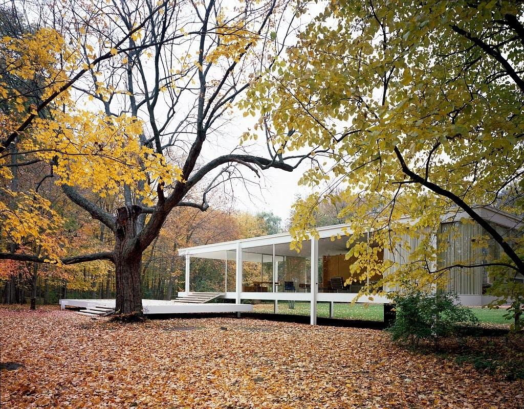 Dom pani Farnsworth. Projekt - Ludwig Mies van der Rohe.Foto źródło: https://www.pinterest.com