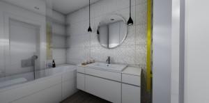 lustro w łazience łazienka z wanną szafka pod umywalkę meble do łazienki płutki 3d, pytki przestrzenne ozdobne płytki do łazienki ozdobny grzejnik łazienka z wanną