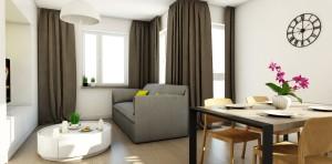 kino domowe sofa stół jadalnia salon stolik kawoy aranżacja wnetrz projektowanie wnętrz architekt warszawa jacek tryc
