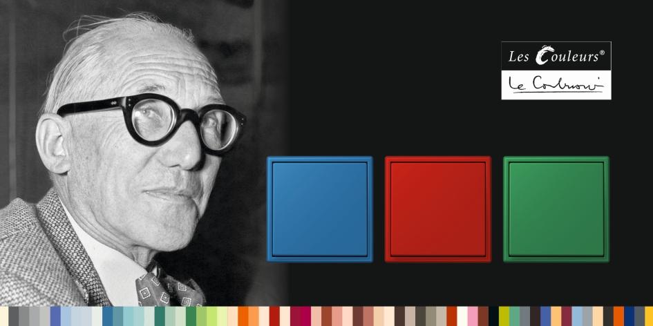 kolorowe włącznik, wyłączniki, czerwony, niebieski, zielonyserii LS 990 w kolorach Les Couleurs® Le Corbusier