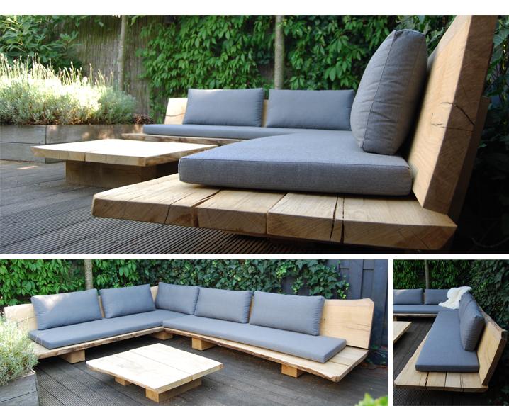 Drewniane meble ogrodowe ze zdejmowanymi poduszkami.  Foto źródło: https://pl.pinterest.com