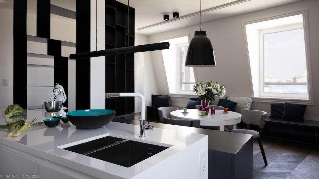 nowoczesna kuchnia @tryc.pl projektowanie wnętrz, archoitekt wnętrz, living room, salon z kuchnia, wyspa, mieszkanie na poddaszu