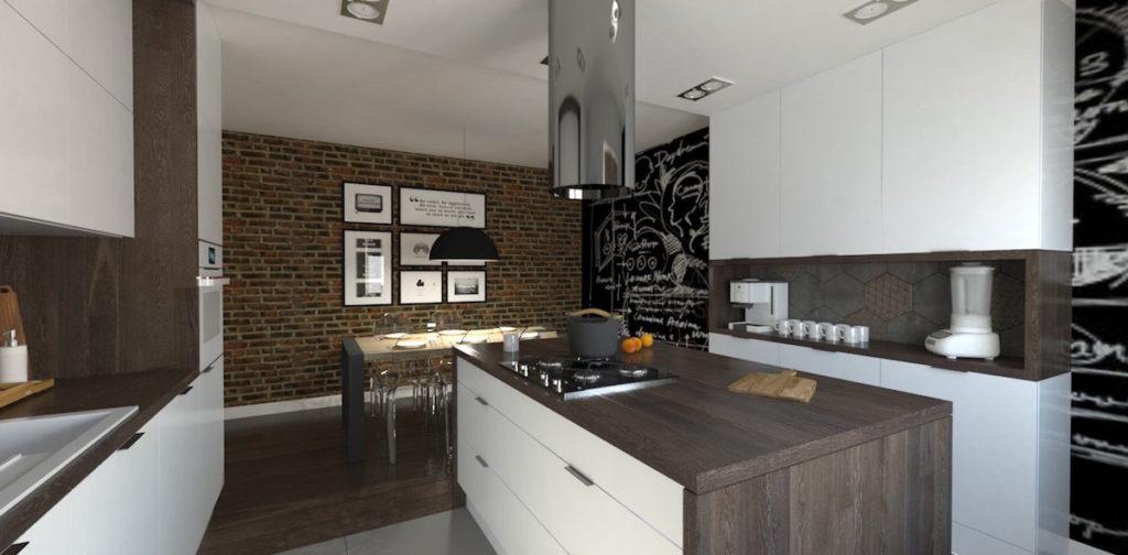 @tryc.pl kuchnia jadalnia, sciana z cegły tablica meble kuchenne, wyspa w kuchni funkcjonalna kuchnia ekskluzywne wnętrza projektowanie wnętrz