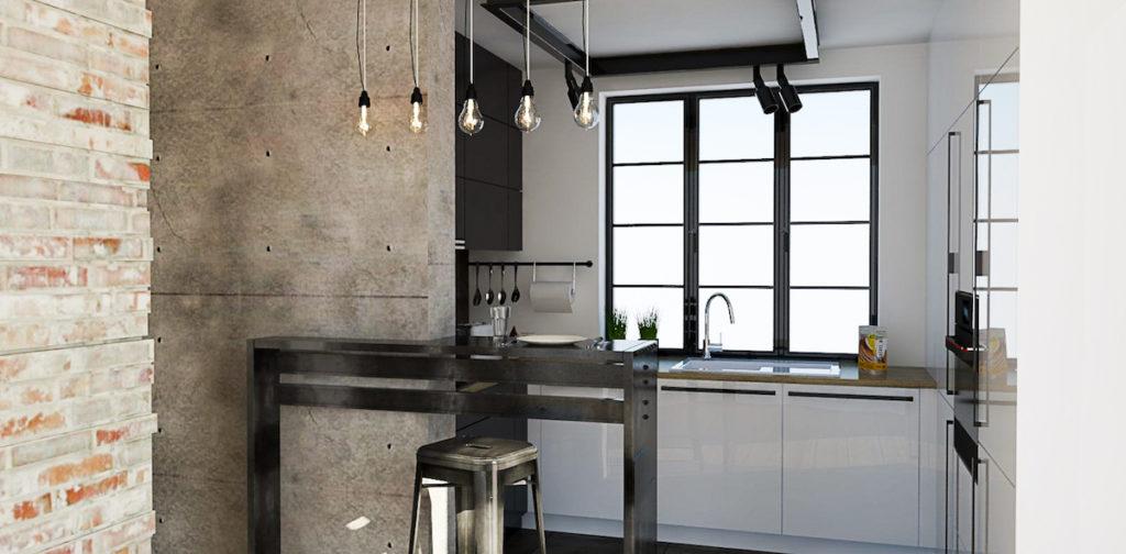 @tryc.pl projektowanie wnętrz biała kuchnia industrialne klimaty iustrial metal meble