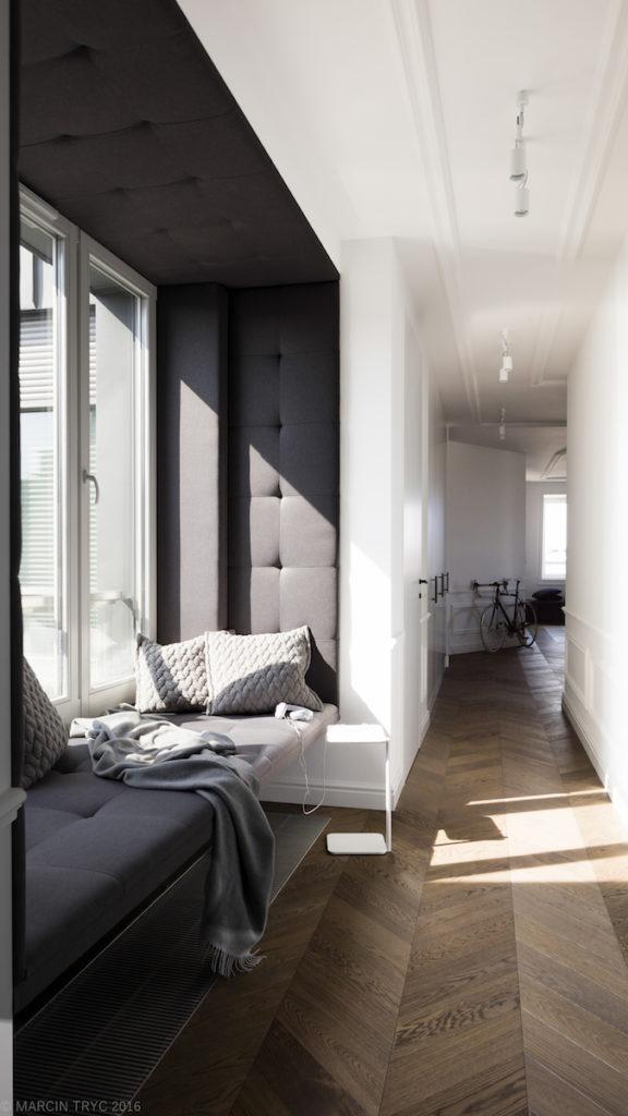 przedpokój szafy w przedpokoju wąski przedpokój jak urządzić przedpokój szafy w przedpokój, funkcjonalny przedpokój, korytarz, siedzisko, projektowanie wnętrz, dobry architekt, warszawa, aranżacja wnętrze warszawa