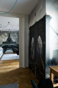 szafa meble pokój młodzieżowy wieża Eiffla na szafie Paris nowoczesne wnętrza pokój dziecka modern furniture personalizacja