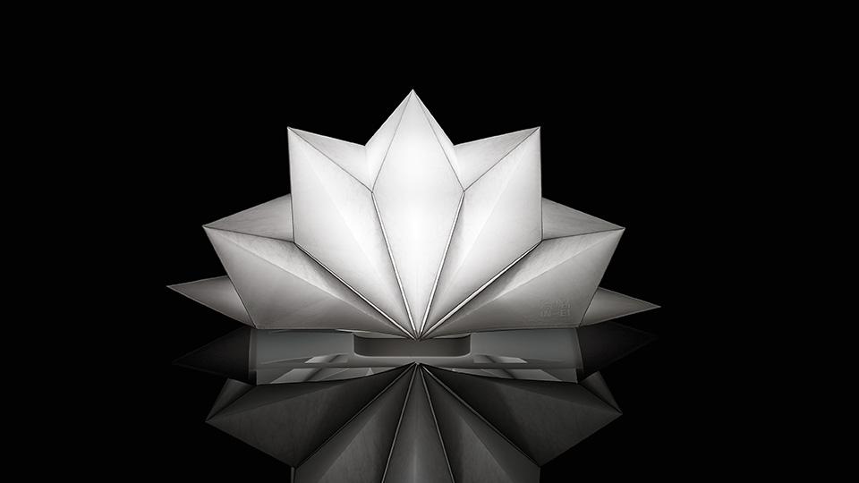 lampa biała origami, artemide, lampa do salonu, abażur, ekologiczne lampa, nowoczesna technologia, issey miyake, projektowanie wnętrz, aranżacja wnętrz, jacek tryc, architekt warszawa burakowska żoliborz, japoński styl, lampy w japońskim stylu, recykling 2D, 3D, papierowe lampy