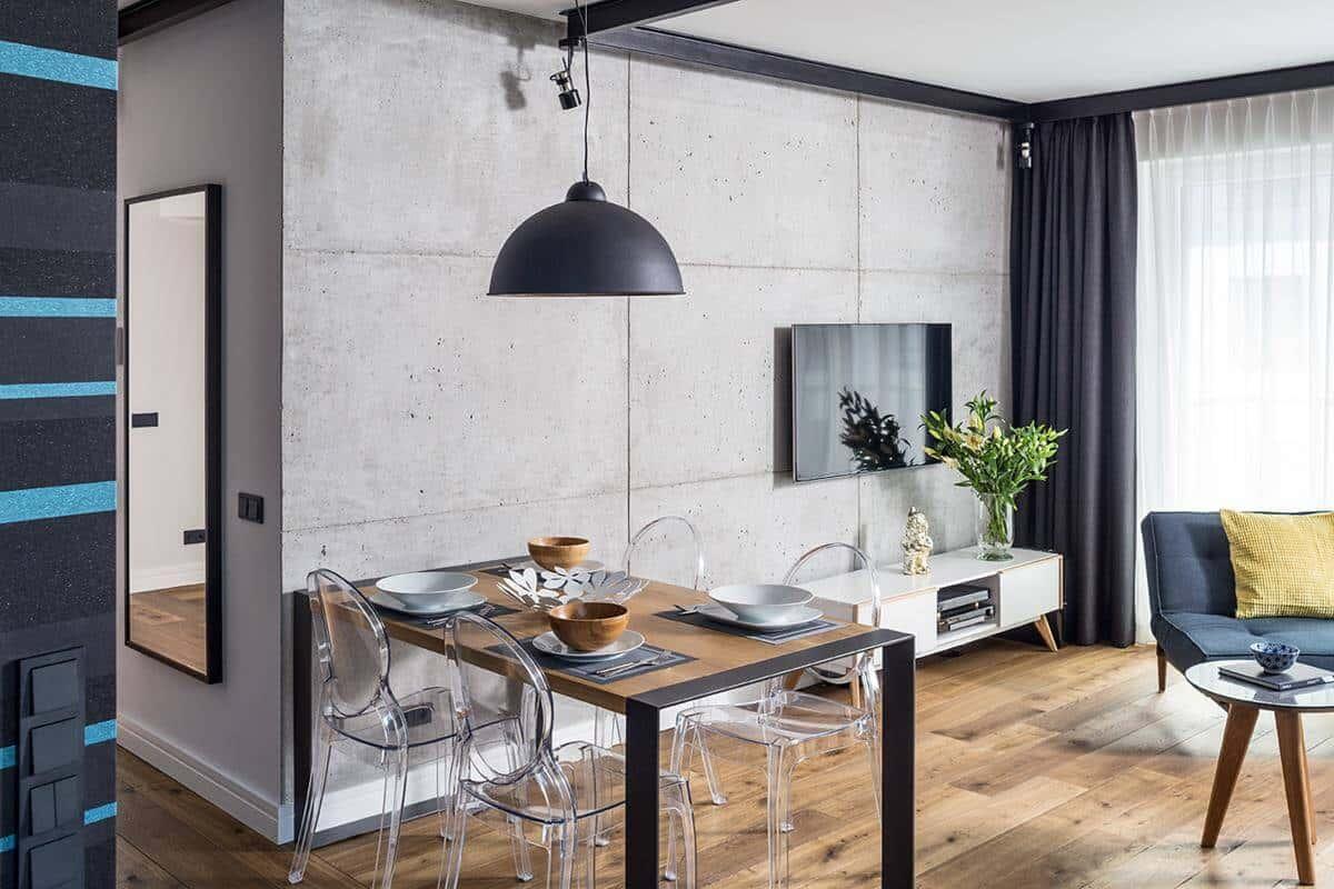 beton w domu ściana z betonu drewniana podłoga nowoczesne wnętrza architekt wnętrz Warszawa