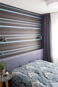 sypialnia w bloku tapeta w sypialni sypialnia na niebiesko sypialni inspiracje architekt wnętrz mieszkanie na Bemowie szukam architekta Warszawa piękne wnętrza projektant mieszkań klimatyczne mieszkanie ciekawe aranżacje wnętrz