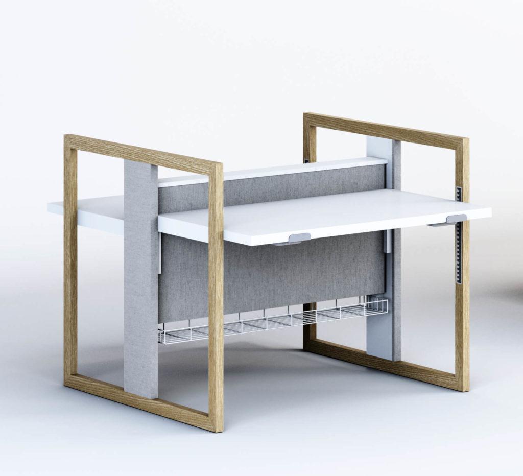 urządzamy biuro nowoczesne meble biurowe biurko z regulowaną wysokością ładne meble do biura architekt wnętrz Jacek Tryc projektowanie wnętrz eleganckie meble do biura Warszawa eleganckie biurko