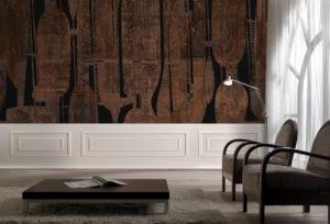 tapeta ściana ozdobiona tapetą Franciszek Michałek FREZo wall paper tapeta w salonie