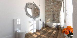 łazienka z klimatem łądna łazienka łazienka w kamienicy cegła na ścianie w łazience kreatywne projektowanie wnętrz Jacek Tryc architekt drewniana podłoga w łazience ozdobne lustro w łazience