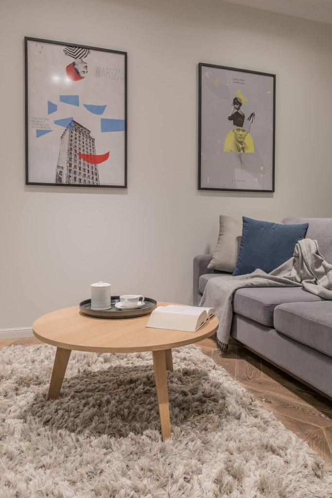 odpoczynek na kanapie. Na kanapie siedzi leń. stolik kawowy. Plakaty filmowe.