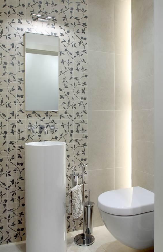 aranżacja małej łazienki dla gości projekt wnętrz Jacek Tryc architekt pracownia projektowania wnętrz i mebli dobry architekt Warszawa projekt mieszkania pod klucz luksusowe apartamenty wnętrza najładniejsze łazienki oświetlenie w łazience