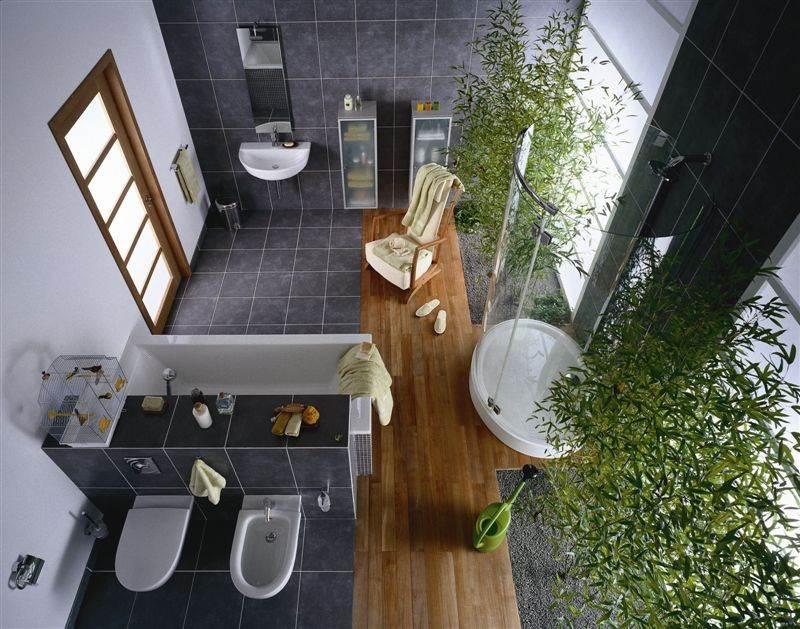 szara łazienka rośliny w łazience bambus piekna ąłzienka projket łazienki projekt wnętrz aranżacja domów i mieszkań