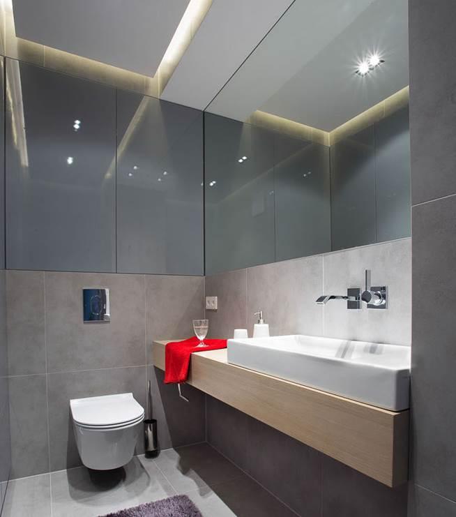 szara łazienka projekt mieszkania pracownia projektowa Warszawa architekt wnętrz Jacek Tryc