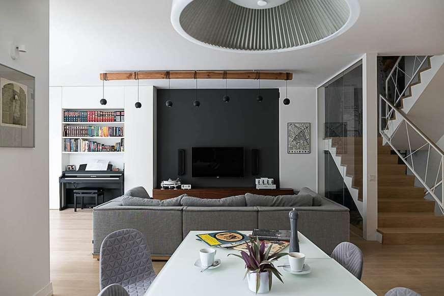 krzesła tapicerowane salon aranżacja wnętrz Warszawa Żoliborz Jacek Tryc architekt