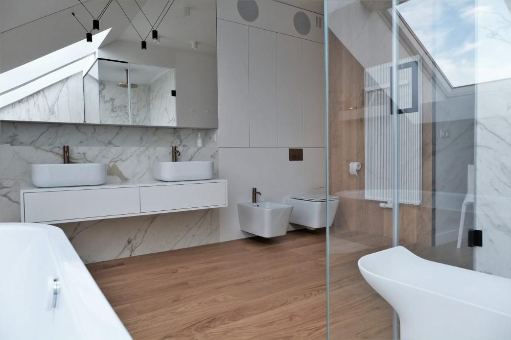 nowoczesna łazienka kamień w łazience realizacje pod klucz architekt wnętrz Jacek Tryc