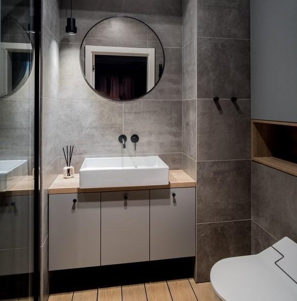 piękna łazienka Jacek Tryc aranżacja wnętrz szara łazienka